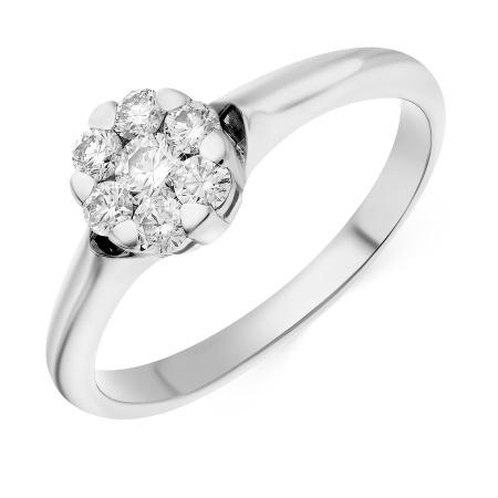 Купить кольцо из белого золота 585 пробы c 7 бриллиантами в Москве в ... 4d2a9c52e6b