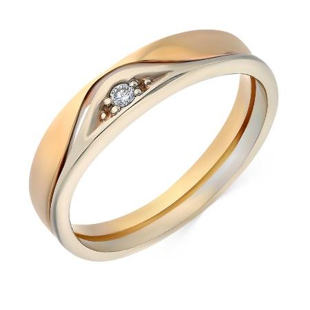 2563120a486d Кольцо обручальное из комбинированного золота 585 пробы c 1 бриллиантом  023390 фото 1