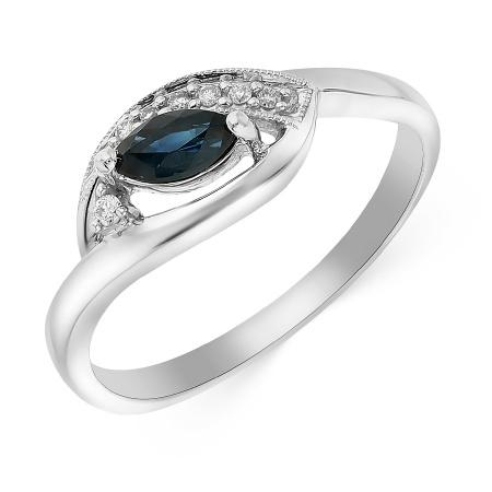 Кольцо из белого золота 585 пробы c 7 бриллиантами и 1 сапфиром 057149 фото  2 817518d62c1
