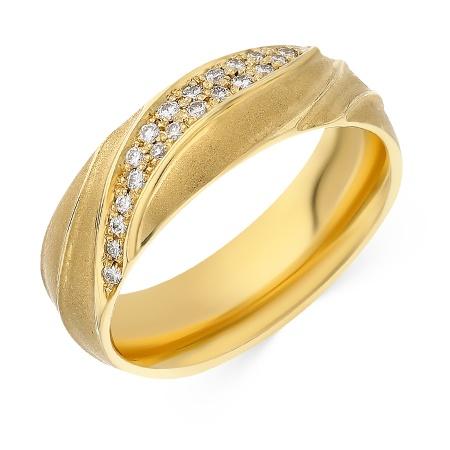 b64e007dafb8 Кольцо обручальное из желтого золота 750 пробы c 20 бриллиантами 049201  фото 1