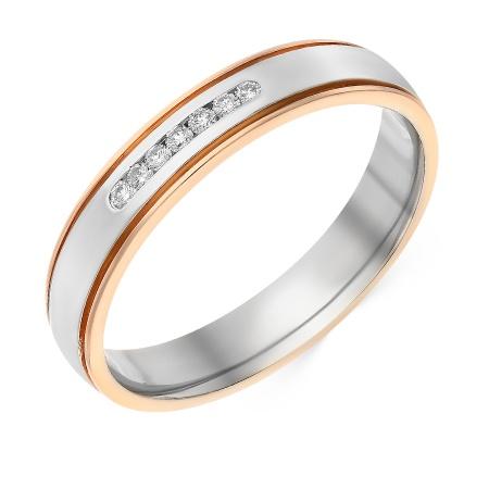 89afe77382a3 Кольцо обручальное из комбинированного золота 585 пробы c 7 бриллиантами  035780 фото 1