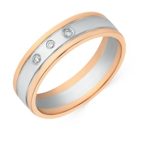 719139198f08 Кольцо обручальное из комбинированного золота 585 пробы c 3 бриллиантами  050581 фото 1