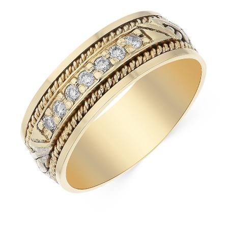 d85e7d01e01e Кольцо обручальное из комбинированного золота 585 пробы c 7 бриллиантами  060809 фото 1