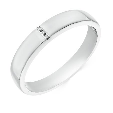 Кольцо обручальное из белого золота 585 пробы c 3 бриллиантами 028056 фото 1 f18a031c16b