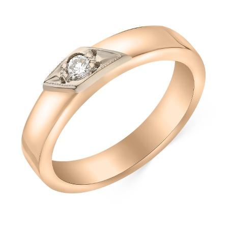 4b027ba7513f Кольцо обручальное из комбинированного золота 585 пробы c 1 бриллиантом  042926 фото 1