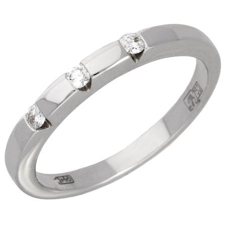 3b2bce09a2c6 Кольцо обручальное из белого золота 750 пробы c 3 бриллиантами 013079 фото 1