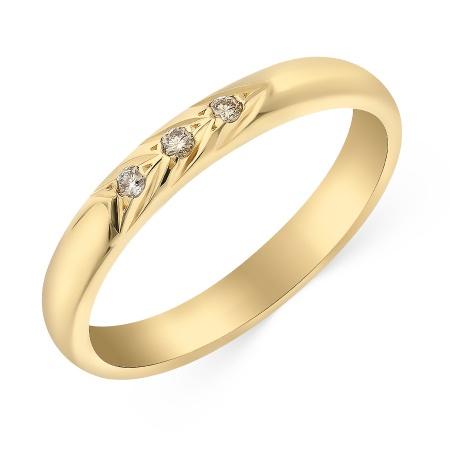 579c1f205cfb Кольцо обручальное из желтого золота 585 пробы c 3 бриллиантами 052993 фото  1