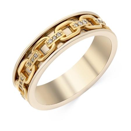 b0e8825080a8 Кольцо обручальное из комбинированного золота 585 пробы c 33 бриллиантами  048607 фото 1